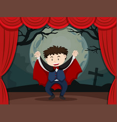 Stage play with boy in vampire costume vector