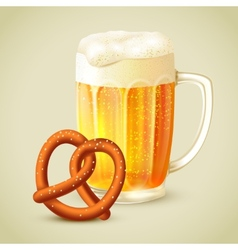 Mug of beer pretzel emblem vector
