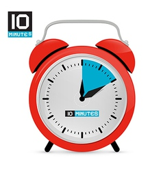 Ten 10 minutes red alarm clock vector