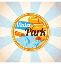 Water park tubes with pool retro background vector