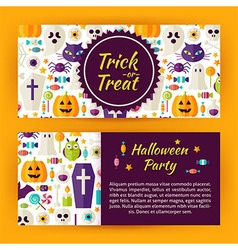 Trick or treat halloween party flat style template vector