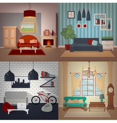 Set of home interiors in different styles vector