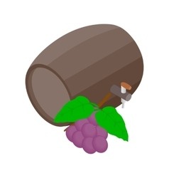 Barrel of wine with grape branch icon vector