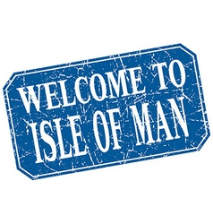 Welcome to isle of man blue square grunge stamp vector