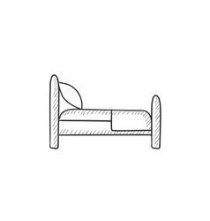 Bed sketch icon vector image