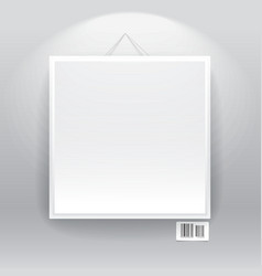 Blank frame on the wall with barcode sign vector