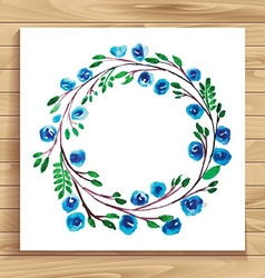 Frame with flowers blue vector