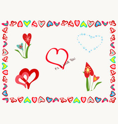 a set of different elements for romantic postcards vector image vector image