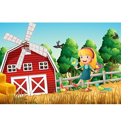 A smiling little girl at the farm with the birds vector image