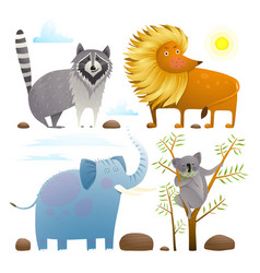 Animals zoo clip art collection lion elephant vector