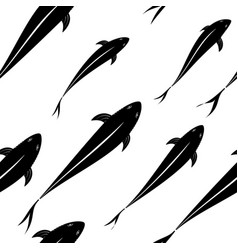 background pattern of black fish silhouettes in vector image vector image