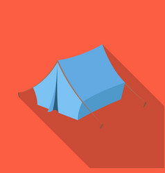 blue tent with pegshippy single icon in flat vector image