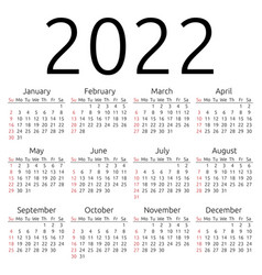 Calendar 2022 sunday vector