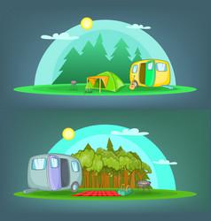 camping 2 banner set horizontal cartoon style vector image vector image