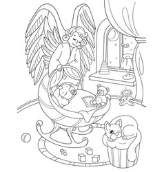 Cartoon coloring book the guardian angel vector