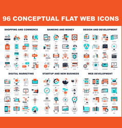 conceptual flat web icons vector image
