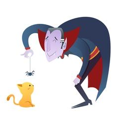 Cute cartoon dracula vampire character vector