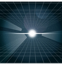 Digital cosmic white light and a grid vector image