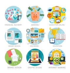 Financial alchemy education graphic design vector