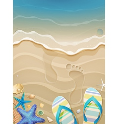 footprints on sand vector image vector image