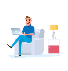 freelancer man working at home with laptop on sofa vector image vector image