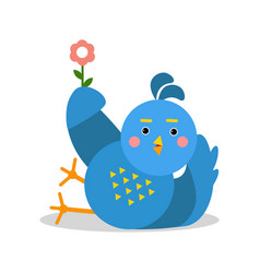 Funny blue bird lying and holding flower cartoon vector