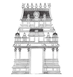 Gate pyramid temple vintage engraving vector