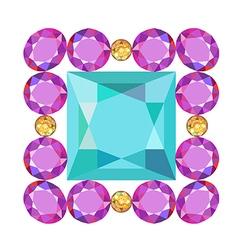Gemstone rim princess cut square brooch vector image