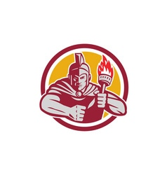Greek warrior torch circle retro vector
