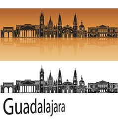 Guadalajara skyline in orange vector image