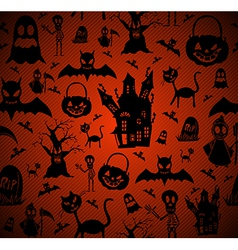 Halloween elements seamless pattern background vector image