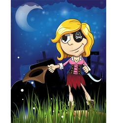 Halloween pirate girl in the cemetery vector