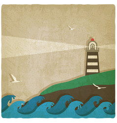 lighthouse on cliff by sea old background vector image vector image