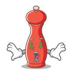Money eye pepper mill character cartoon vector