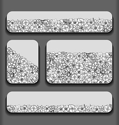 Monochrome flowers pattern cards vector image vector image