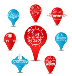 Navigation pins color collection vacation concept vector