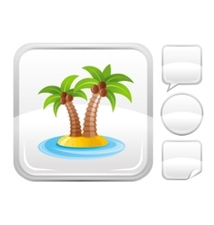 Sea beach and travel icon with tropical island vector