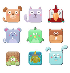 Set of cute square animals dog cat parrot mouse vector