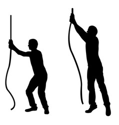 silhouettes of men pulling ropes vector image