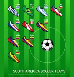 South american soccer teams vector