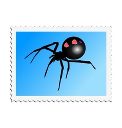 Stamp with image of black widow vector