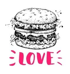 vintage burger label Hand drawn monochrome vector image