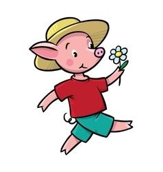 Walking little piglet vector