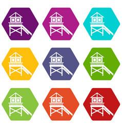 Wooden stilt house icon set color hexahedron vector