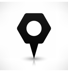 Black hexagon map pin sign blank location icon vector
