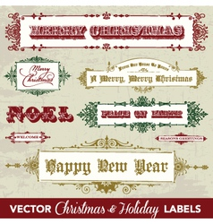 Collection of vintage holiday frames vector image