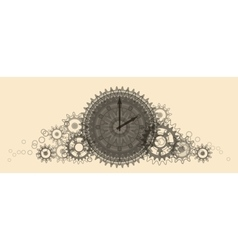 Retro clock pale beige vector