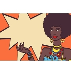 This pop art face wonderful sexy african woman vector
