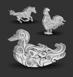 Duck horse rooster floral decorations vector