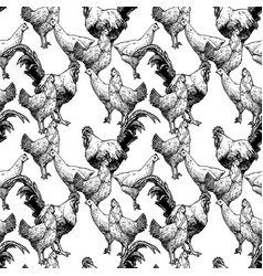 Pattern with hens and cocks vector